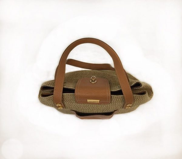 Eric Javits Tan Woven Purse Top View