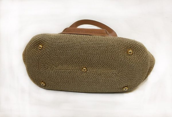 Eric Javits Tan Woven Purse Bottom View