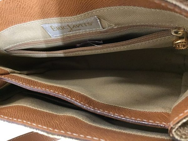 Eric Javits Tan Woven Purse Interior View 3