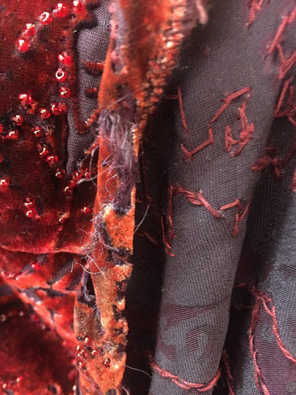 Carmen Marc Valvo Velvet Burnout Gown Hem/Rip Close Up View 3