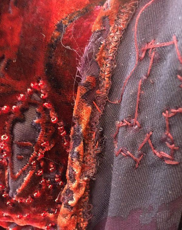 Carmen Marc Valvo Velvet Burnout Gown Hem/Rip Close Up View 2