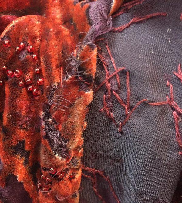 Carmen Marc Valvo Velvet Burnout Gown Hem/Rip Close Up View 1