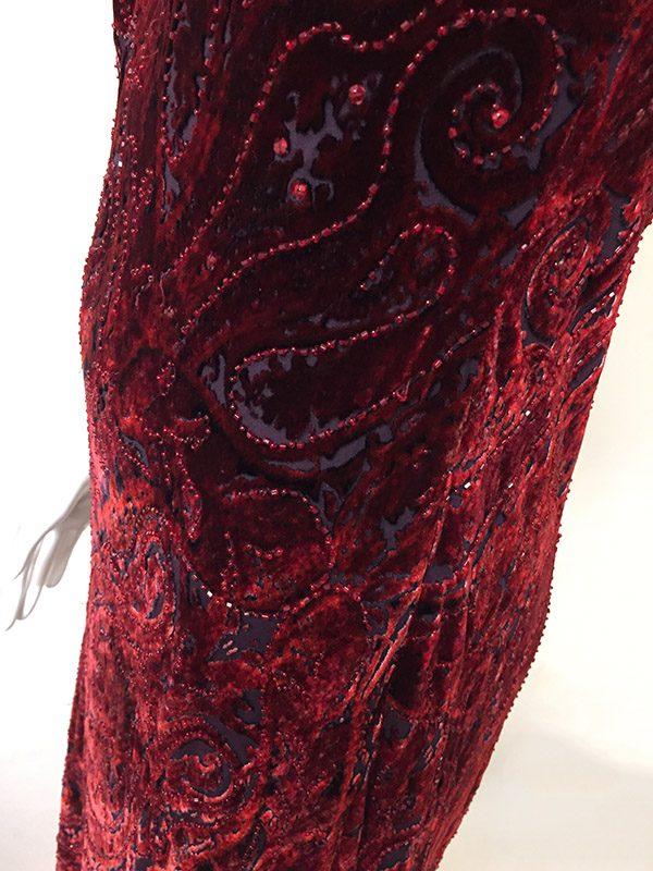 Carmen Marc Valvo Velvet Burnout Gown Fabric Close Up View