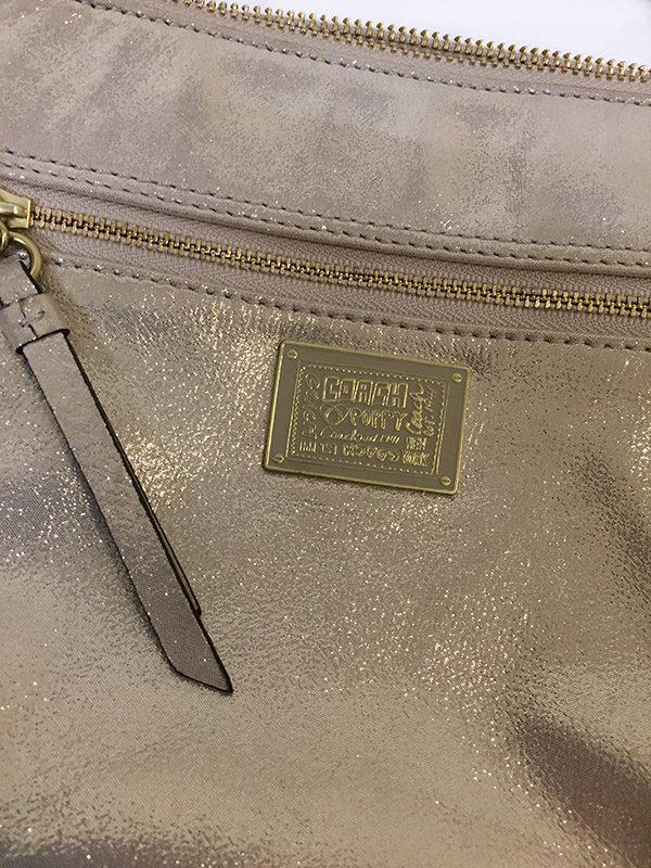 Coach Gold Cross-Body Bag Front Zip View
