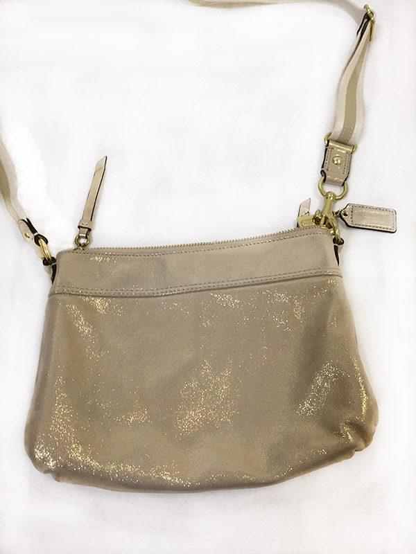 Coach Gold Cross-Body Bag Back View