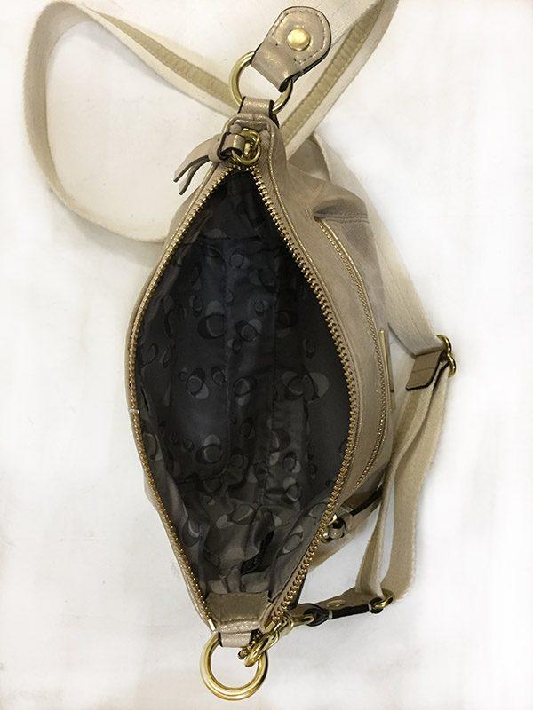 Coach Gold Cross-Body Bag Interior View 2