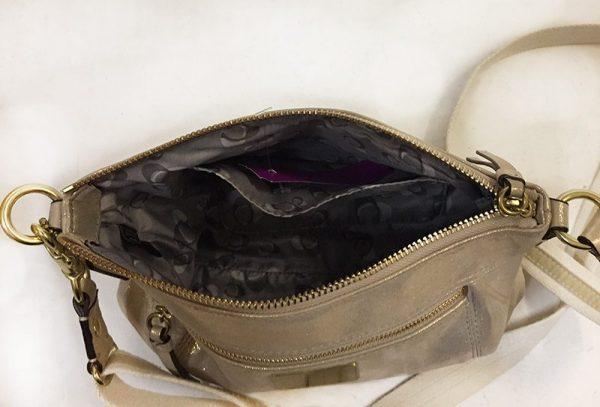 Coach Gold Cross-Body Bag Interior View