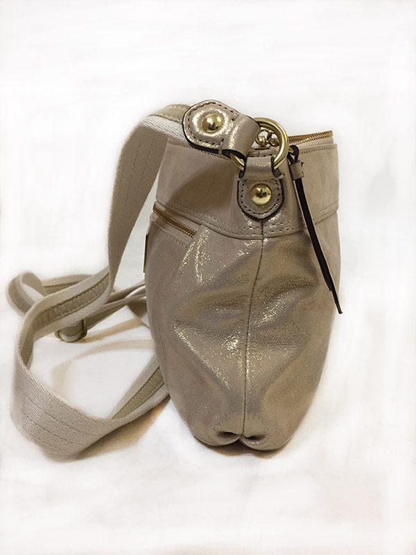 Coach Gold Cross-Body Bag Side View