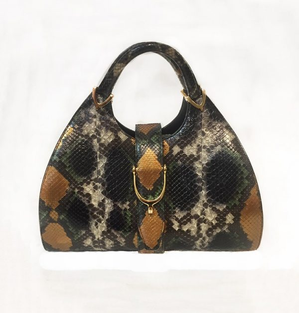 Gucci Python Stirrup Top Handle Bag Front View
