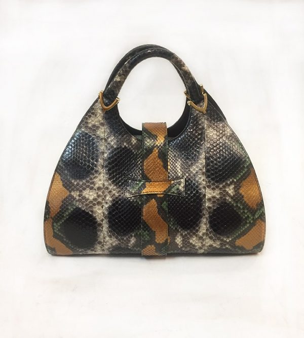 Gucci Python Stirrup Top Handle Bag Back View