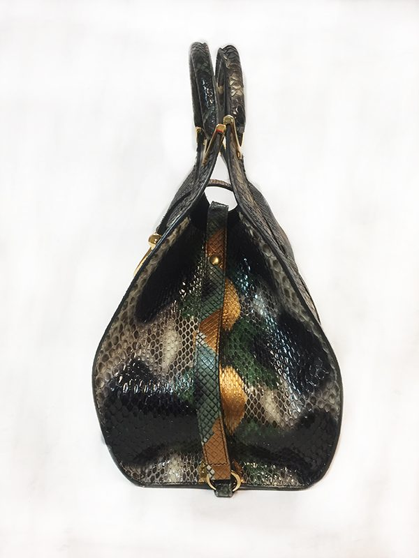 Gucci Python Stirrup Top Handle Bag Side View 2