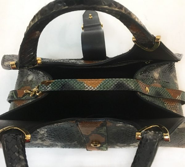 Gucci Python Stirrup Top Handle Bag Open Top View