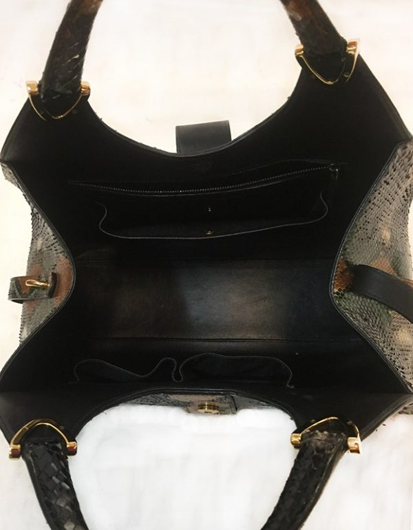 Gucci Python Stirrup Top Handle Bag Interior View