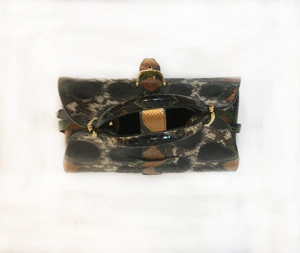 Gucci Python Stirrup Top Handle Bag Top View