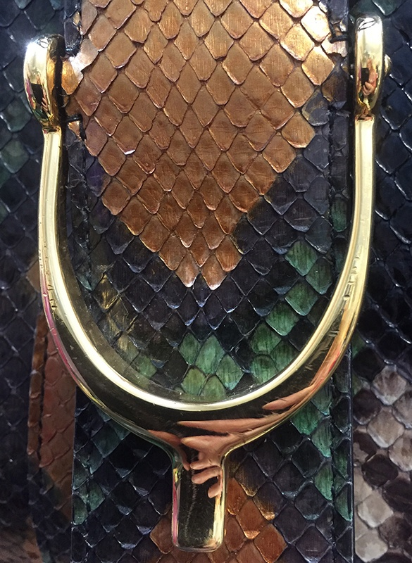Gucci Python Stirrup Top Handle Bag Scratches View 2