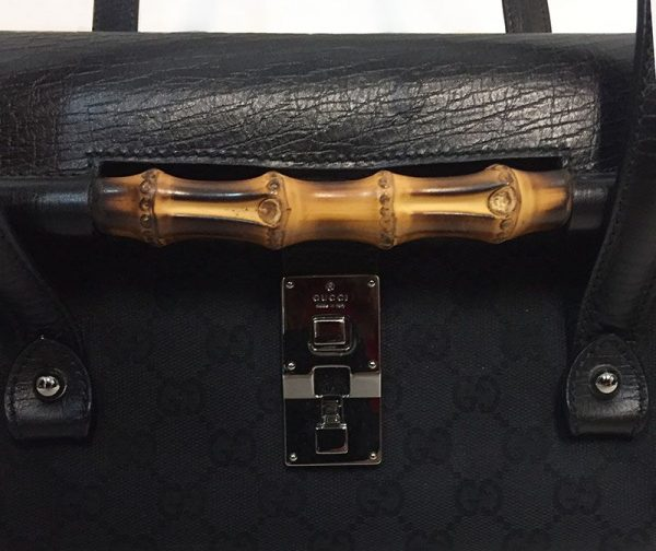 Gucci Monogram Canvas Bullet Bag Bamboo View