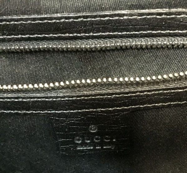 Gucci Monogram Canvas Bullet Bag Interior View