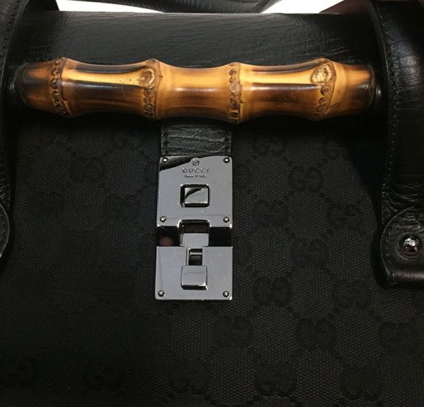Gucci Monogram Canvas Bullet Bag Closure View